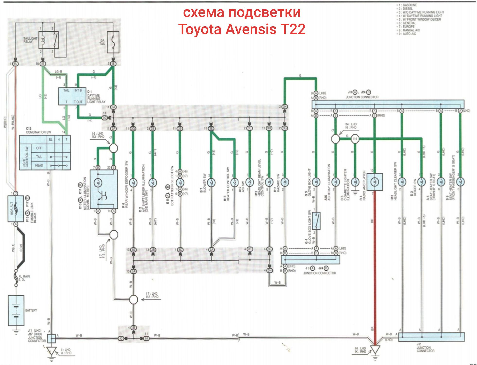 Схема подсветки приборов Авенсис