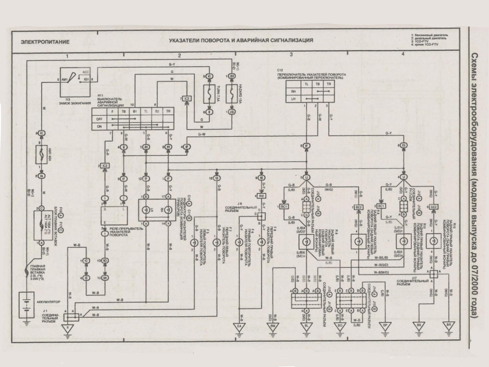 Схема реле поворотов тойота